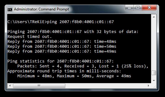 Pinging Google IPv6
