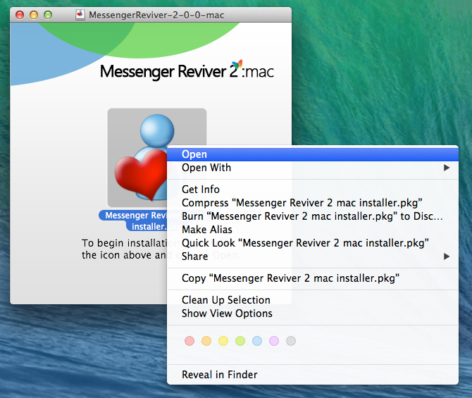 Messenger Reviver 2: mac opening