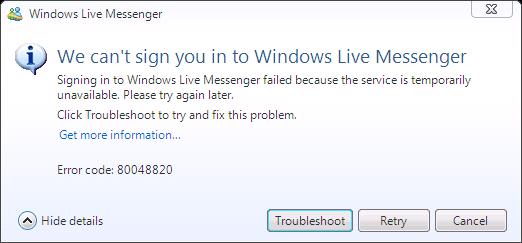 Error code 80048820