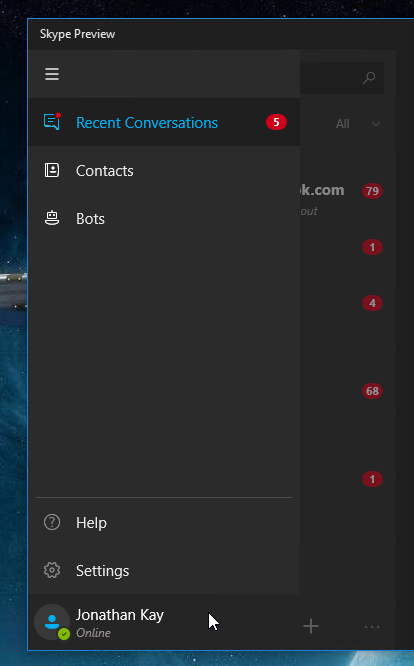 Skype app menu with options listed